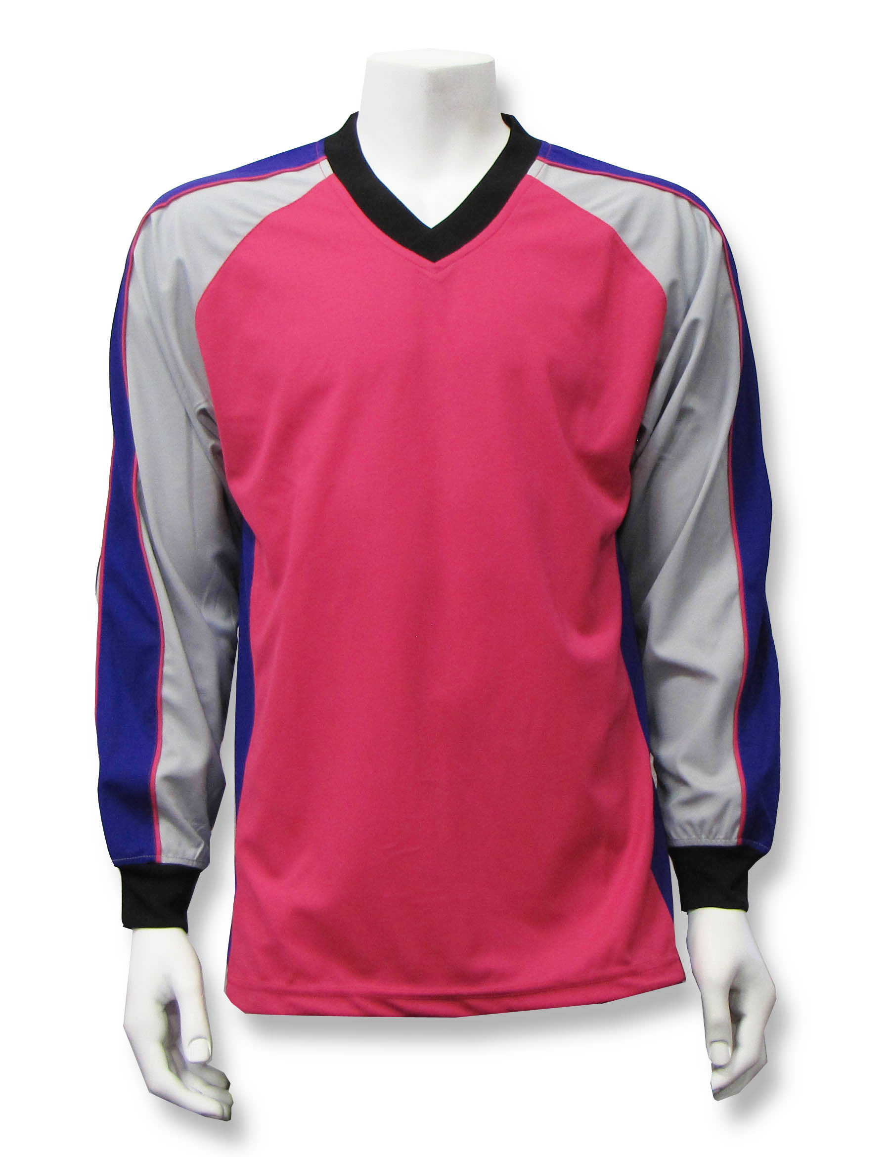 Victory long-sleeve goalie jersey in raspberry multi by Code Four Athletics