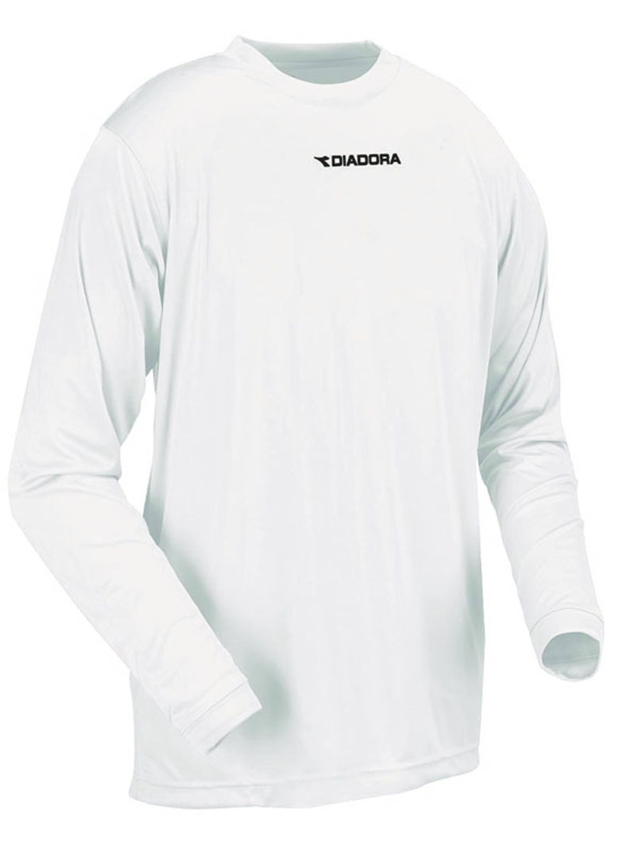 Diadora long sleeve Sfida soccer training shirt in white by Code Four Athletics