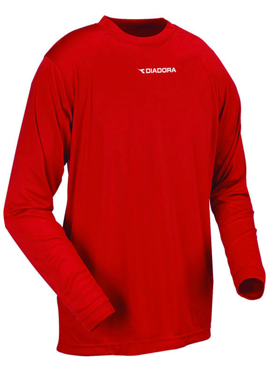 Diadora long sleeve Sfida soccer training shirt in red, by Code Four Athletics