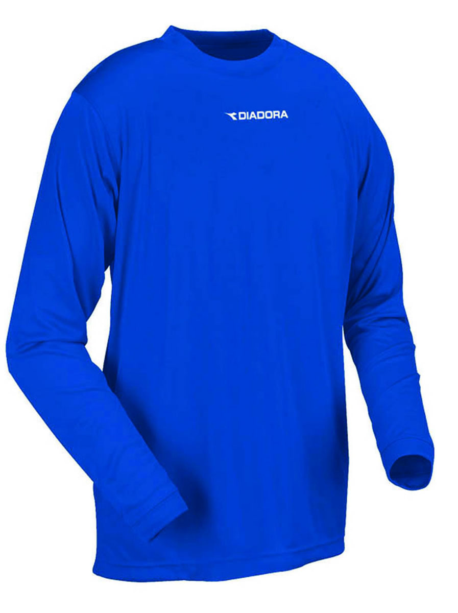 Diadora Sfida long sleeve soccer training shirt in royal, by Code Four Athletics