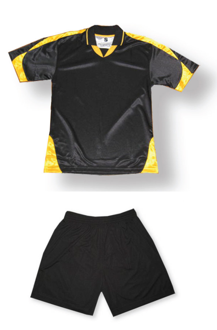 Alpha soccer uniform kit in black/gold by Code Four Athletics