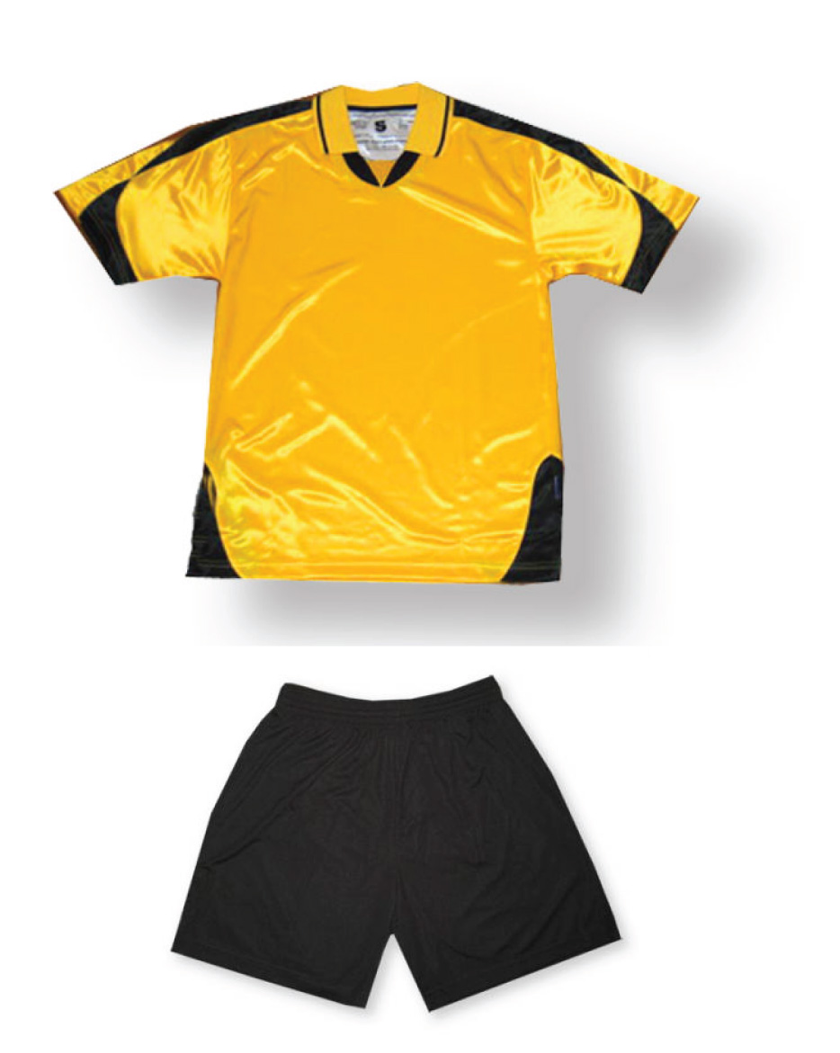 Alpha soccer uniform kit in gold/black by Code Four Athletics