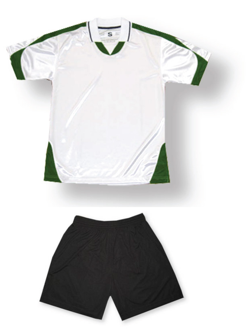 Alpha socer uniform kit in white/forest by Code Four Athletics