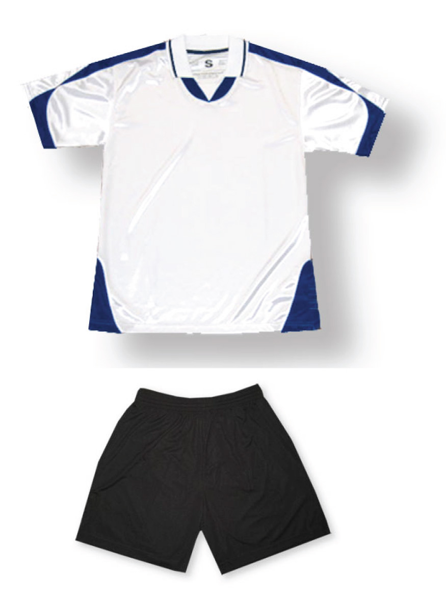 Alpha soccer uniform kit in white/navy by Code Four Atheltics