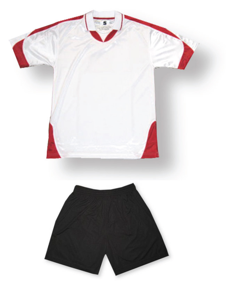 Alpha soccer uniform kit in white/red by Code Four Athletics
