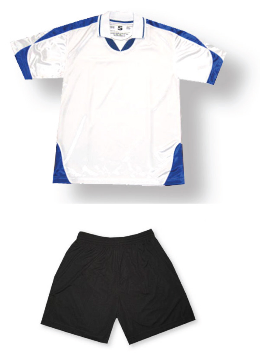 Alpha soccer uniform kit in white/royal by Code Four Athletics