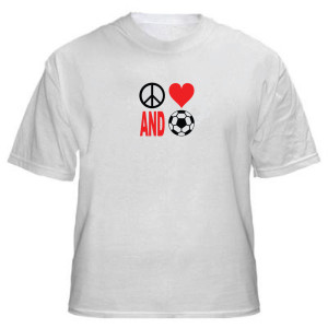 Peace Love and Soccer T-shirt by Code Four Athletics