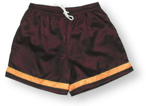 Vashon Soccer Shorts by Code Four Athletics in maroon/gold