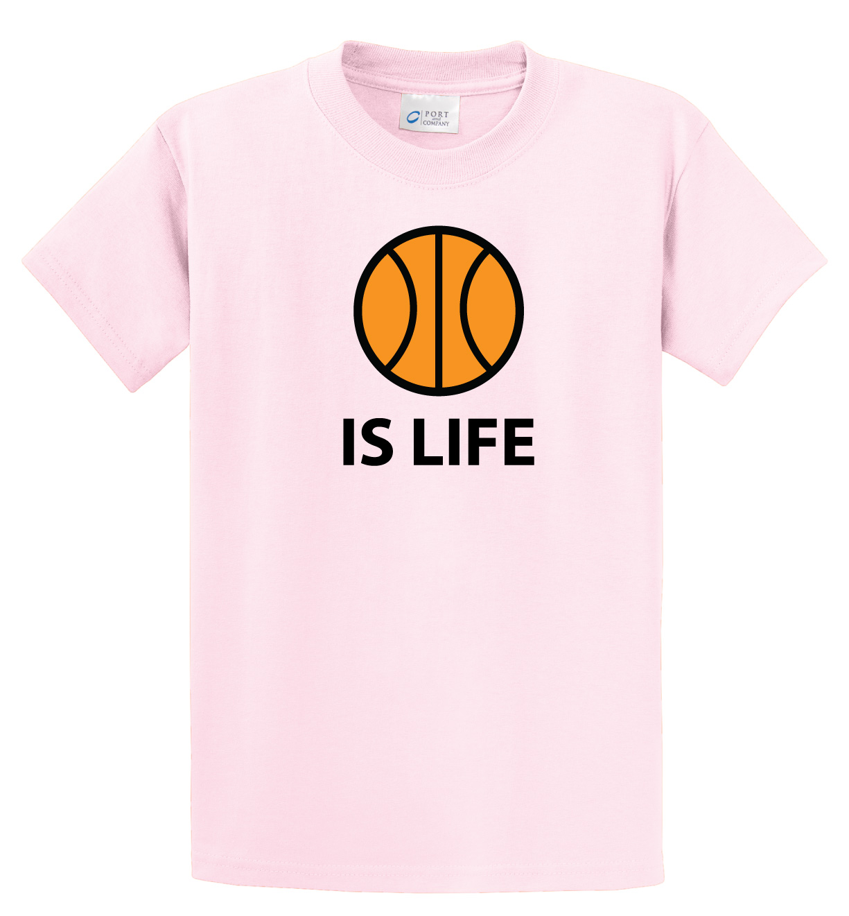 Ball Is Life Tshirt (basketball edition) in pale pink by Code Four Athletics