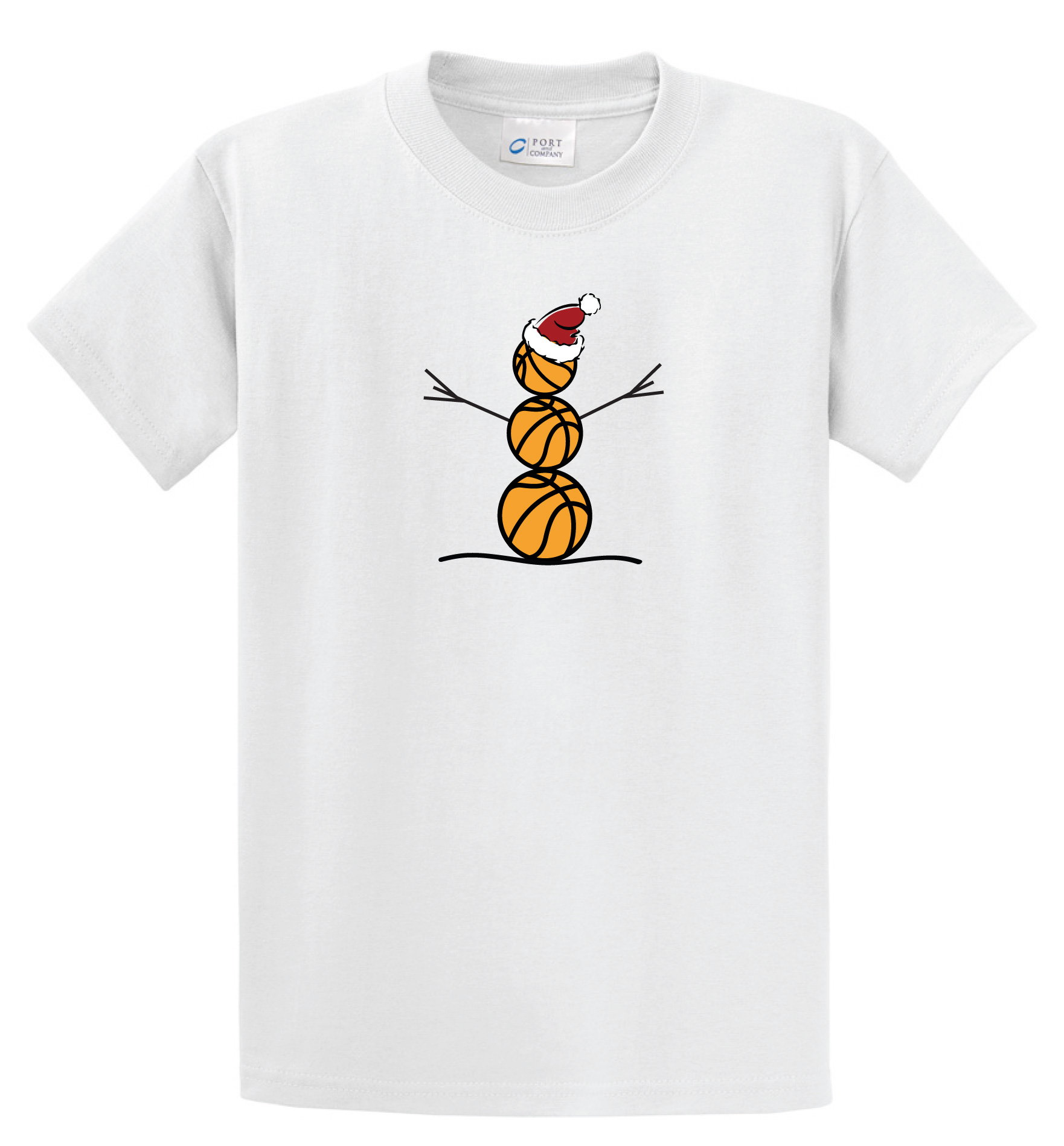 Basketball Snowman Tshirt in white by Code Four Athletics