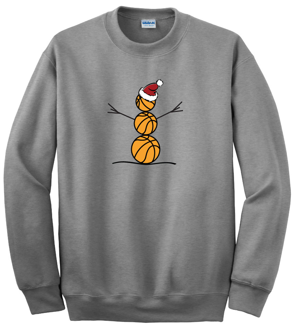 Basketball snowman crewneck sweatshirt in sport gray by Code Four Athletics