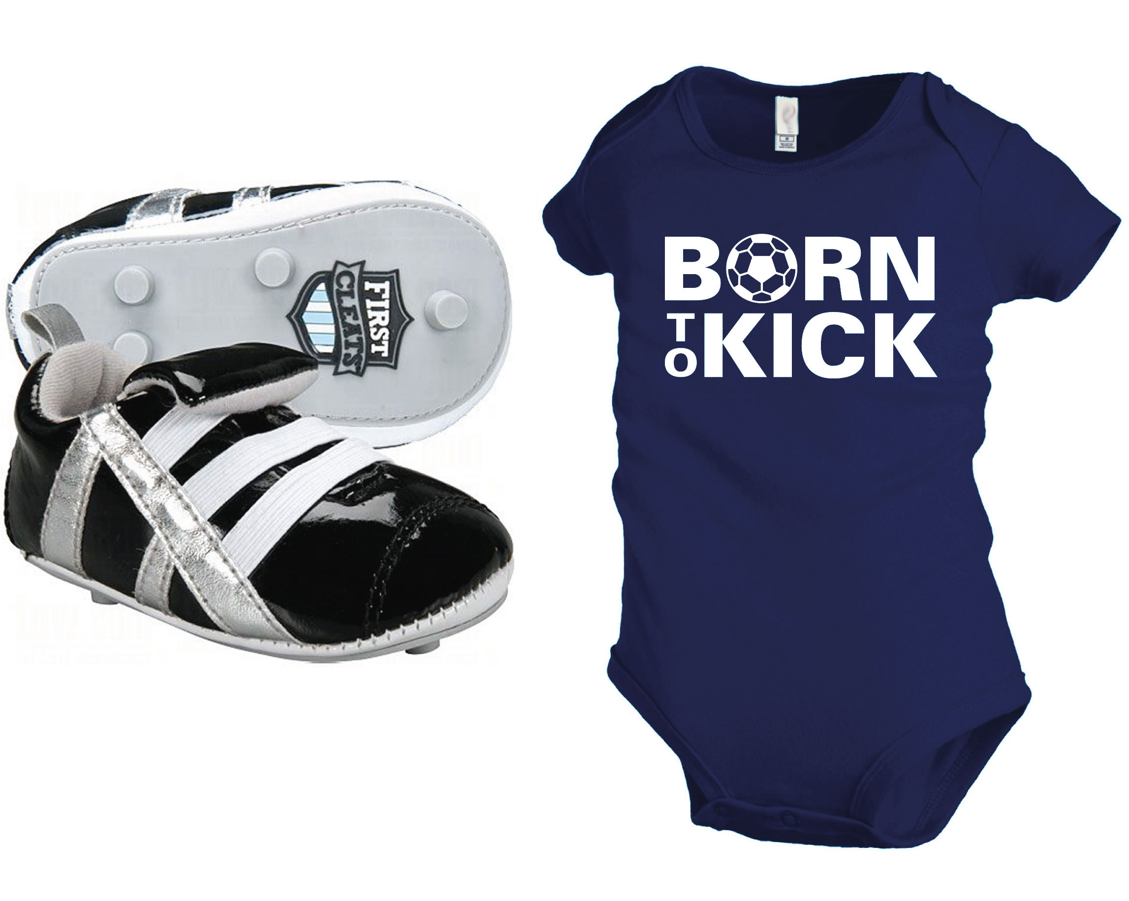 First Cleats baby soccer shoes with navy Born To Kick onesie by Code Four Athletics