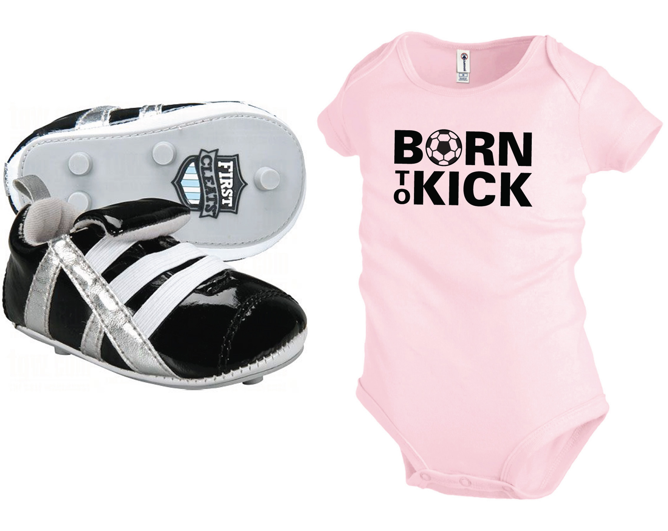 First Cleats newborn baby shoes with pink Born To Kick onesie by Code Four Athletics