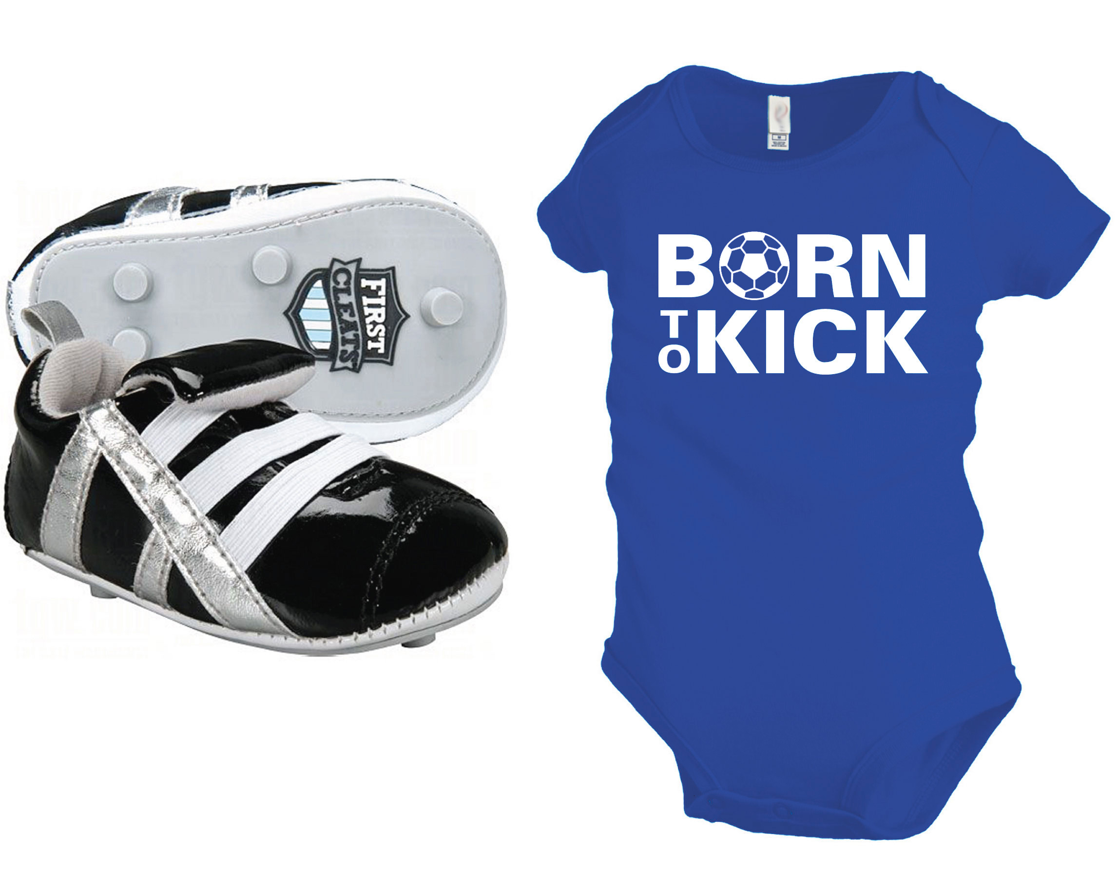 Born To Kick baby onesie in royal with baby soccer cleats by Code Four Athletics