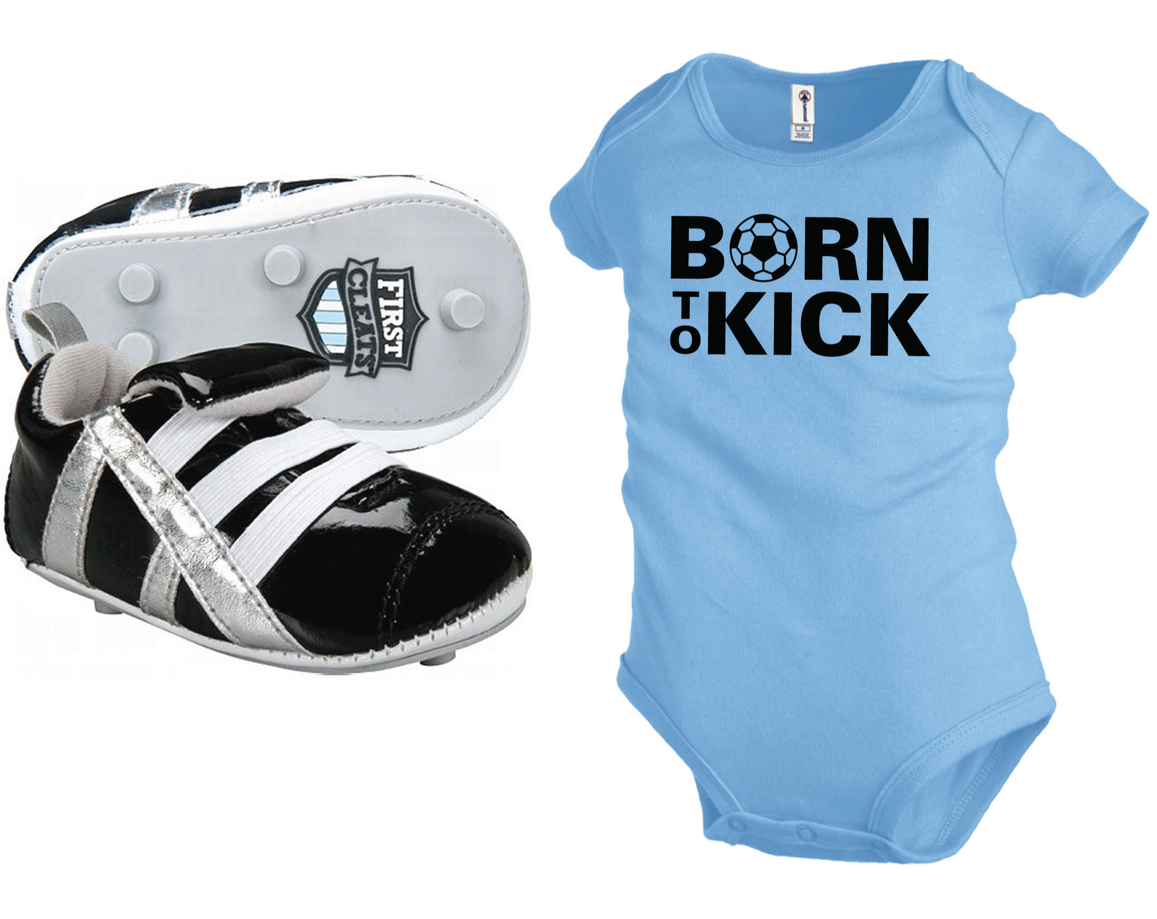 First Cleats newborn baby shoes with sky blue Born To Kick Onesie by Code Four Athletics