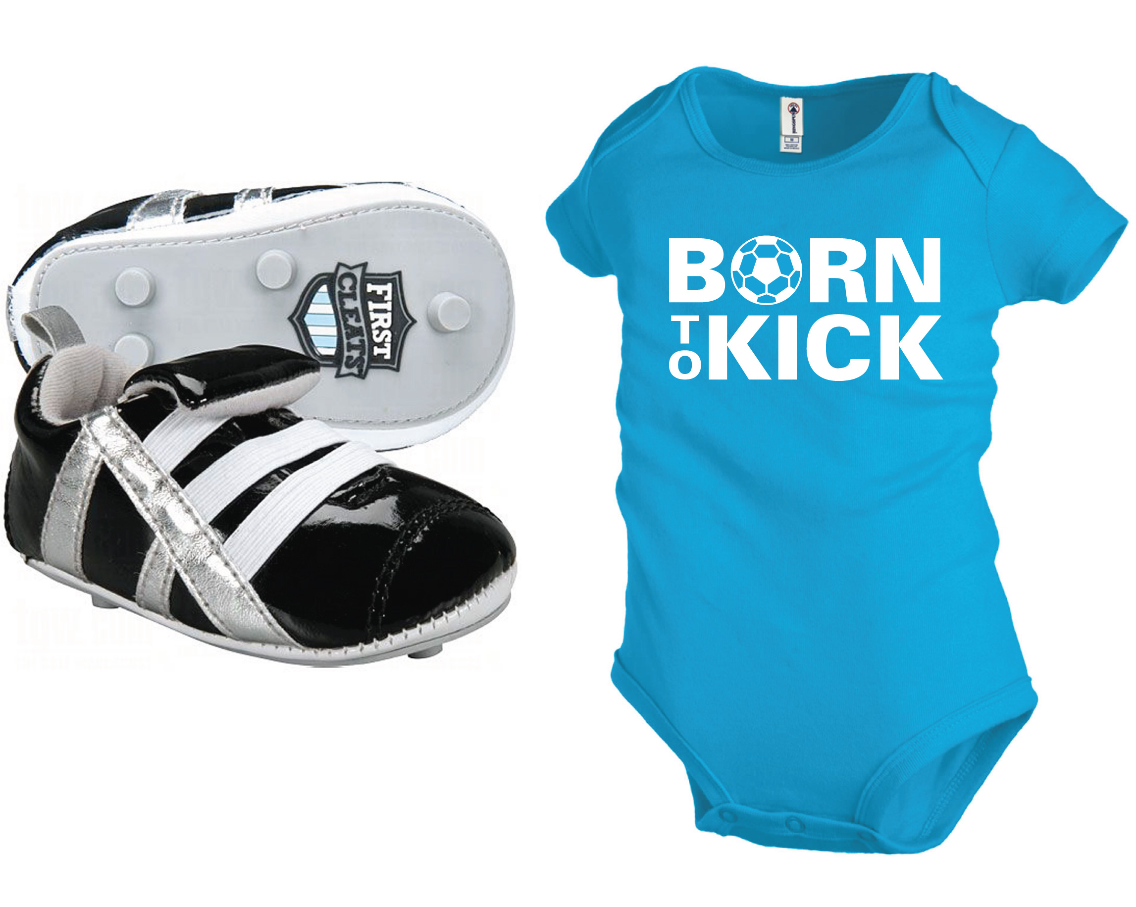 First Cleat soccer shoes for babies with turquoise Born To Kick onesie by Code Four Athletics