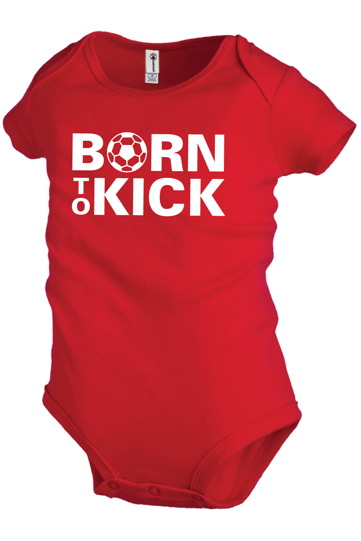 Born To Kick soccer baby onesie in red by Code Four Athletics
