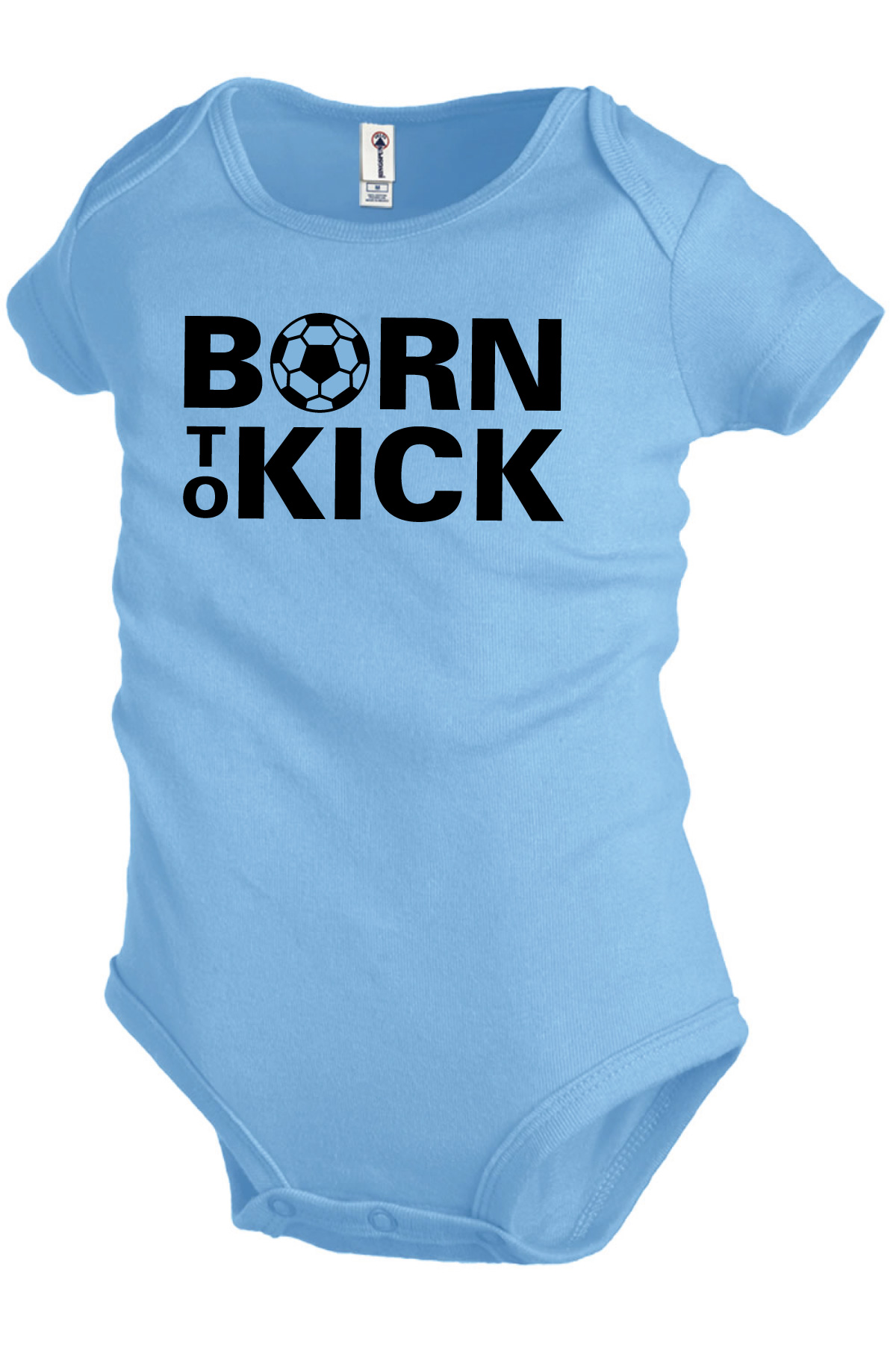 Born To Kick baby soccer onesie in sky blue by Code Four Athletics