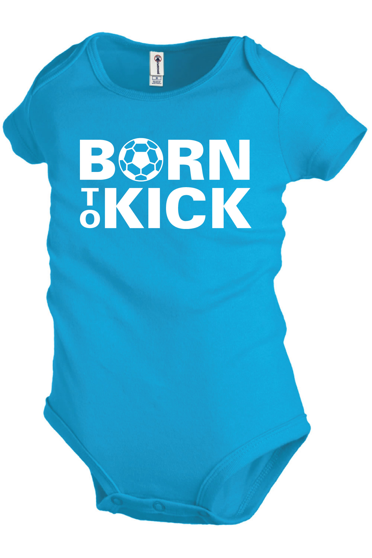 Born To Kick soccer onesie in turquoise by Code Four Athletics
