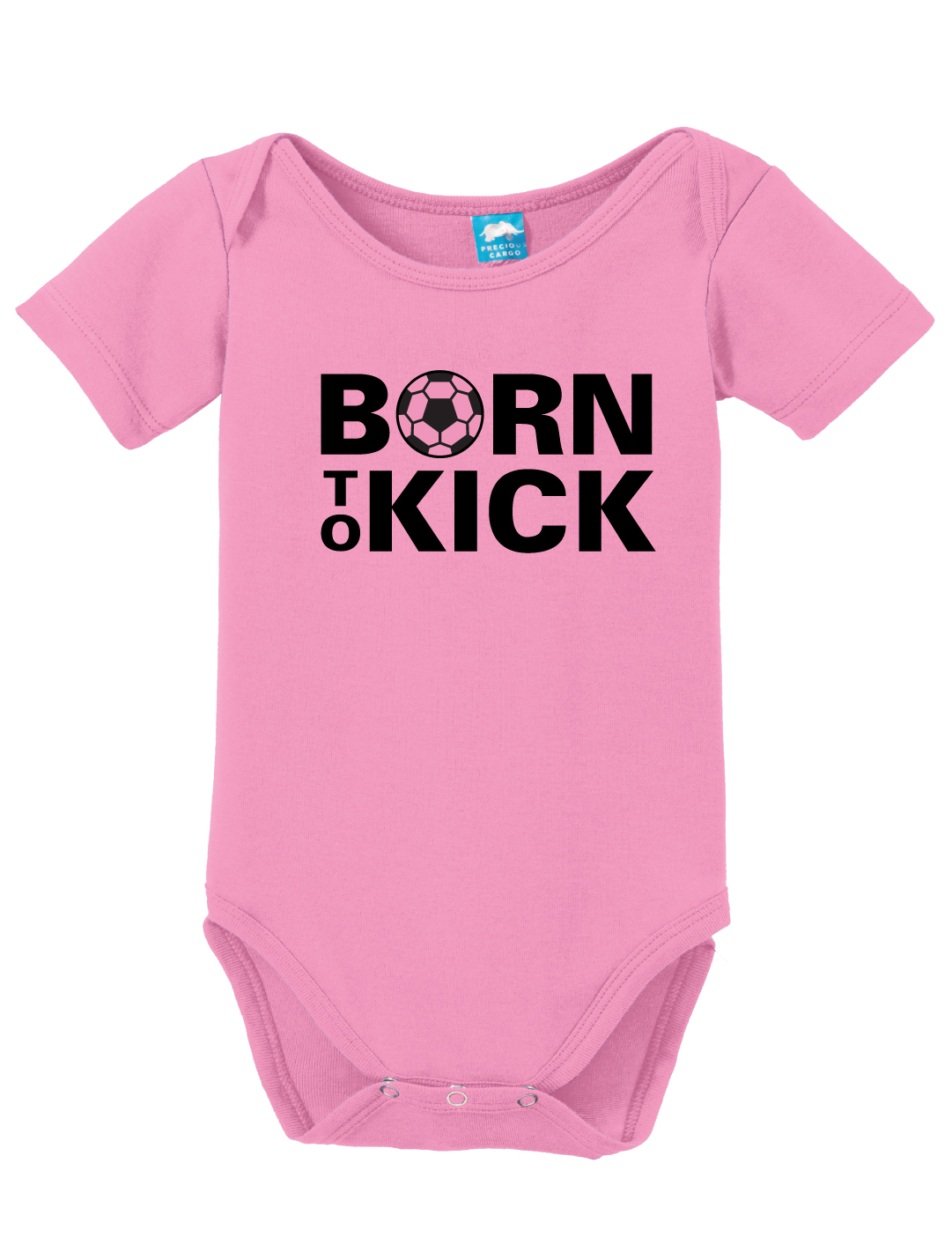 Born To Kick soccer baby onesie in pink by Code Four Athletics