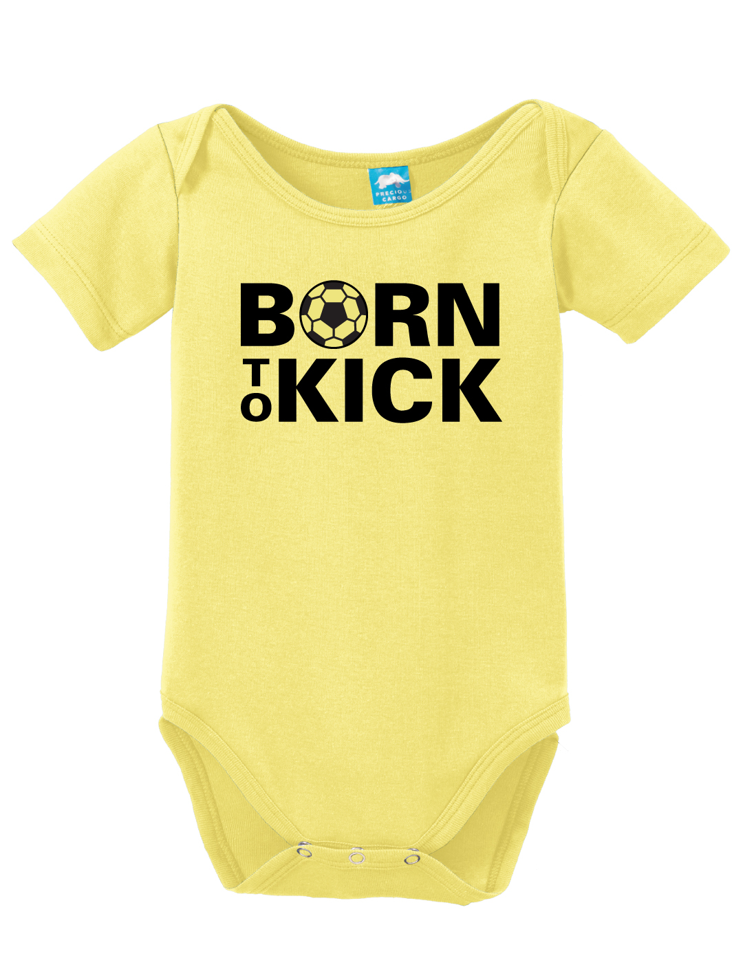Soccer Baby onesie in yellow by Code Four Athletics