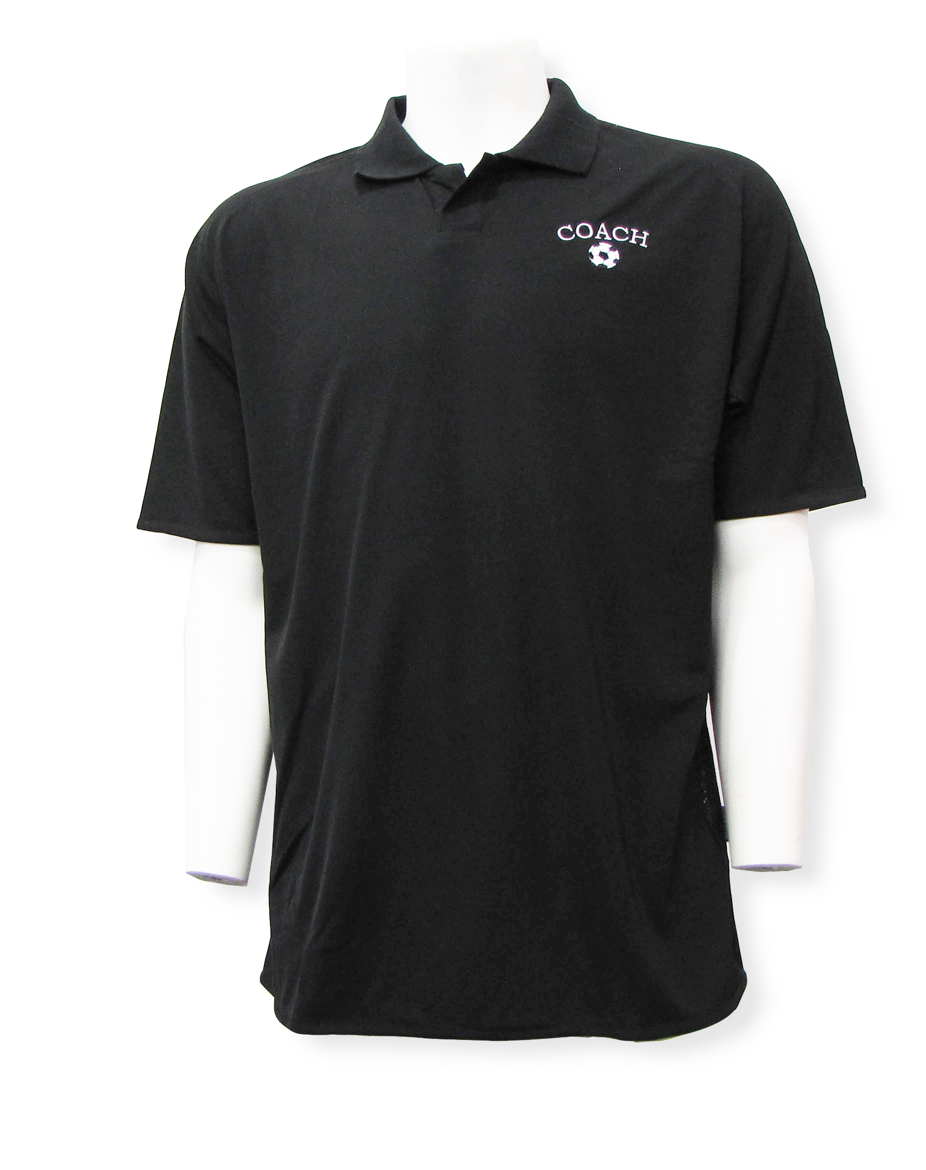Soccer Coach embroidered polo in black by Code Four Athletics