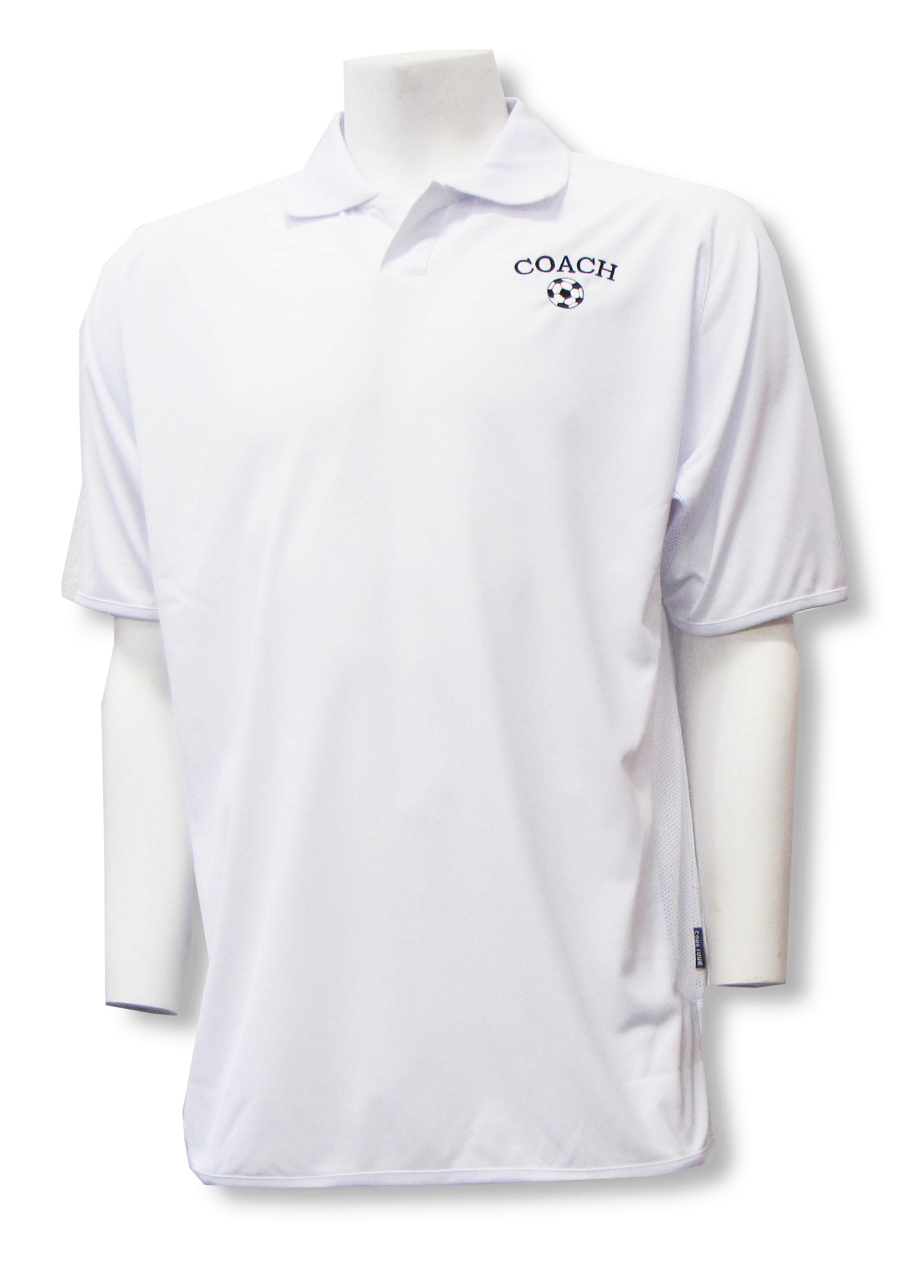 Soccer Coach embroidered polo in white by Code Four Athletics