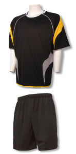 Columbus soccer uniform kit with black shorts by Code Four Athletics