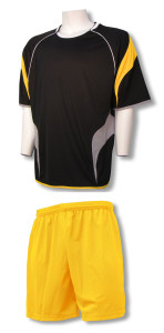 Columbus soccer uniform kit by Code Four Athletics with gold shorts