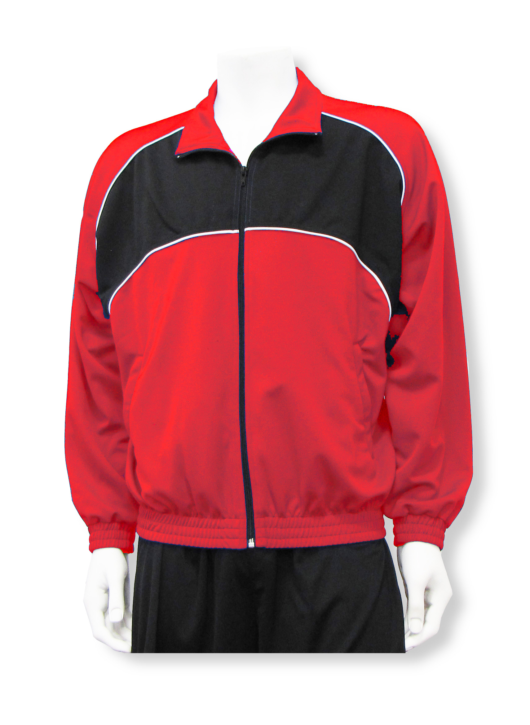 Crossfire soccer warmup jacket in black/red By Code Four Athletics