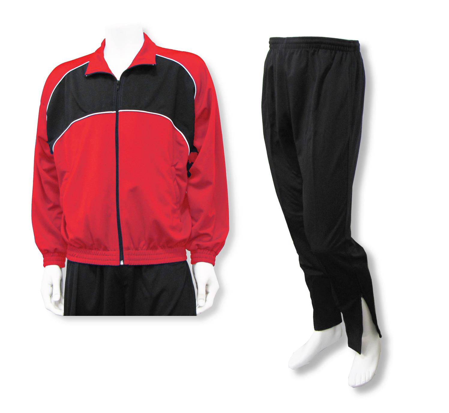 Crossfire soccer jacket and pant set in red/black by Code Four Athletics