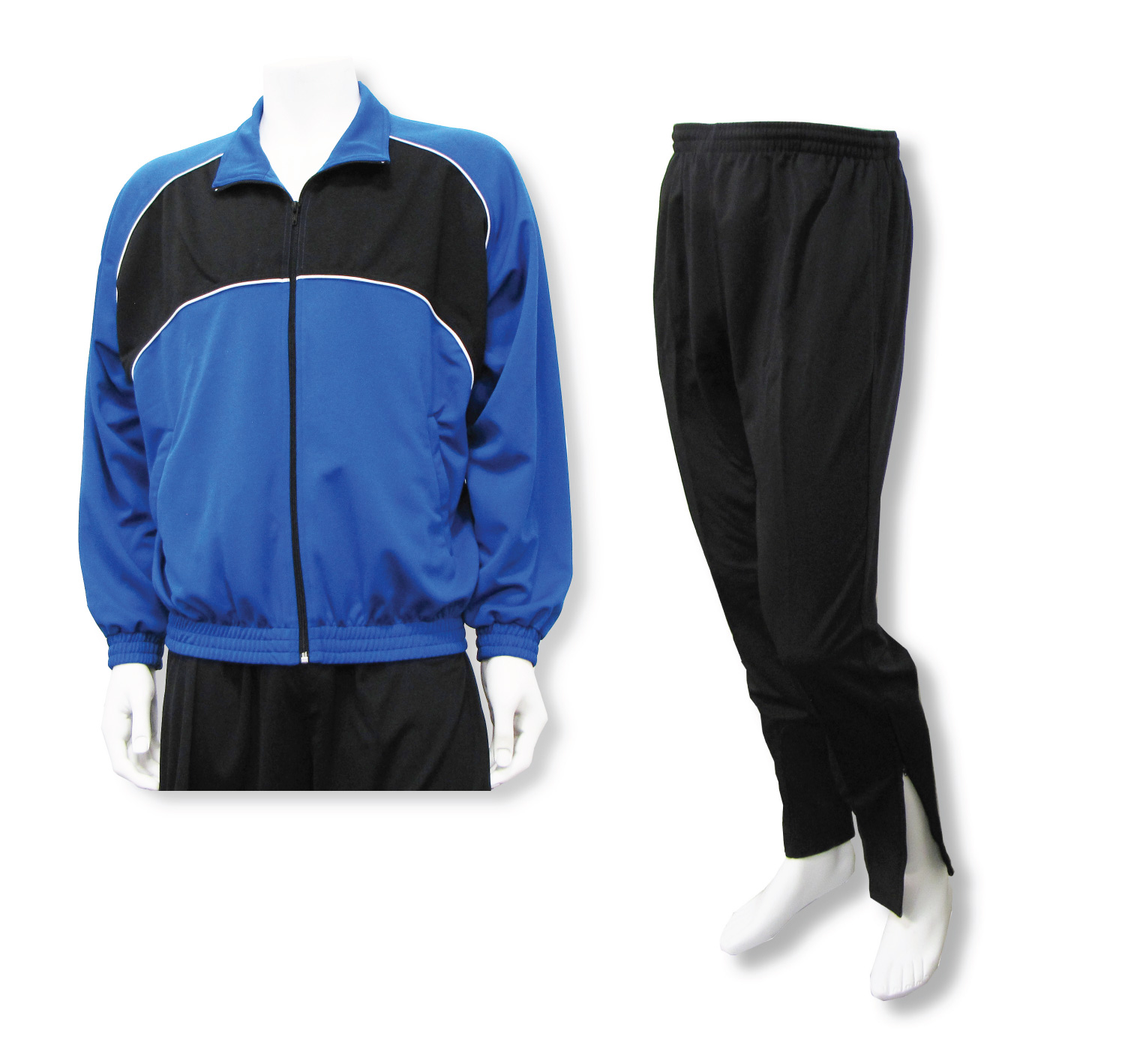 Crossfire soccer warmup set in royal and black by Code Four Athletics