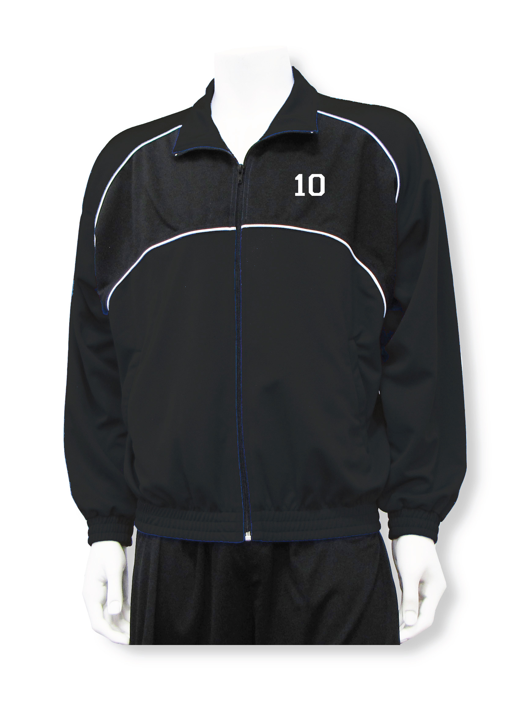 Crossfire soccer warm up jacket with number in black/black by Code Four Athletics