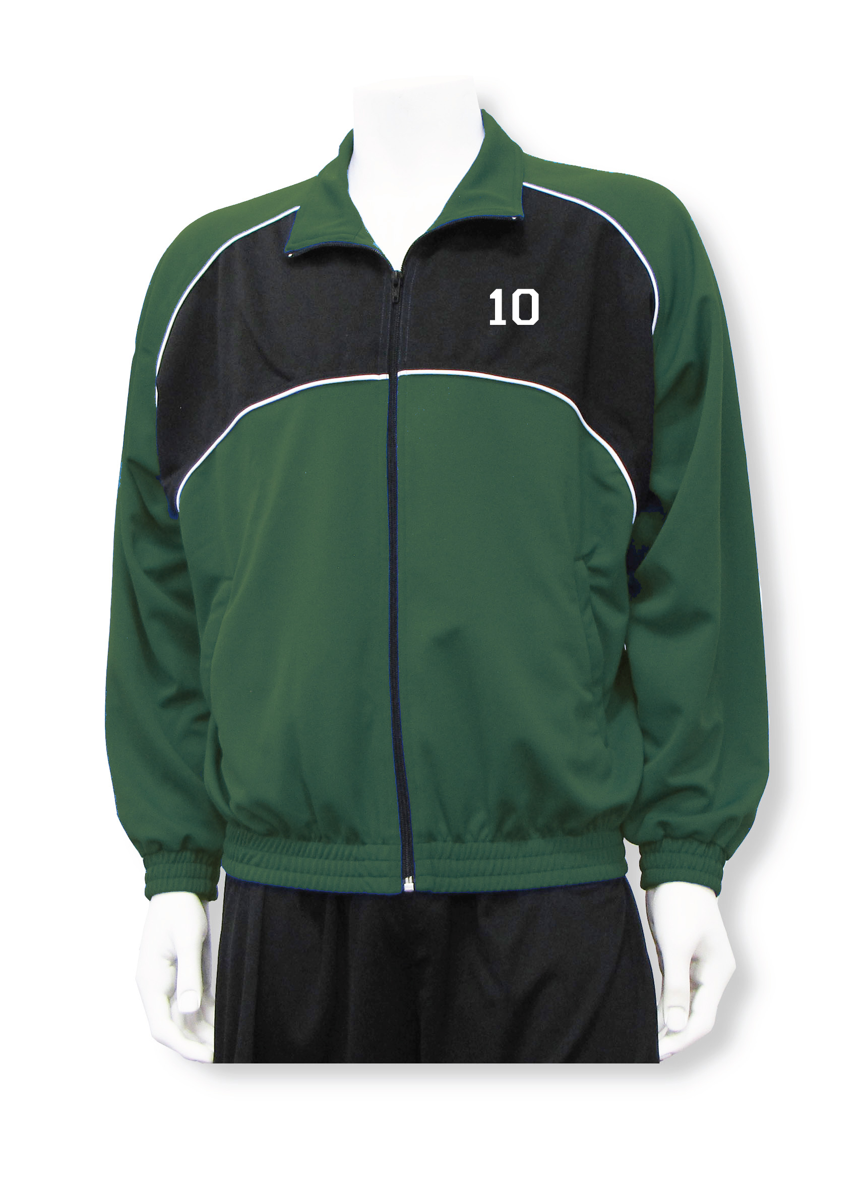 Crossfire soccer warm up jacket in forest/black with number by Code Four Athletics