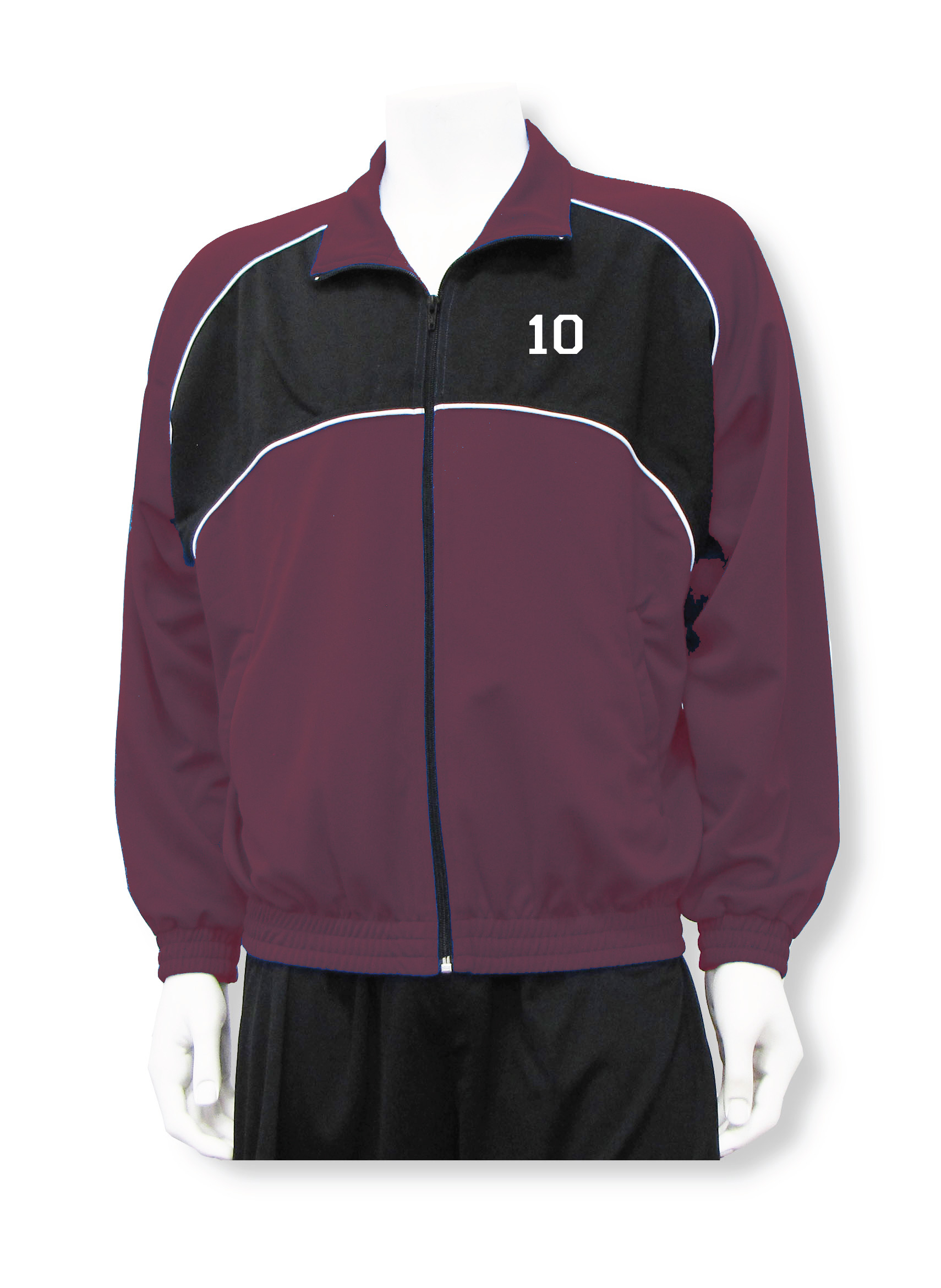Crossfire soccer warm up jacket in maroon/black with number by Code Four Athletics