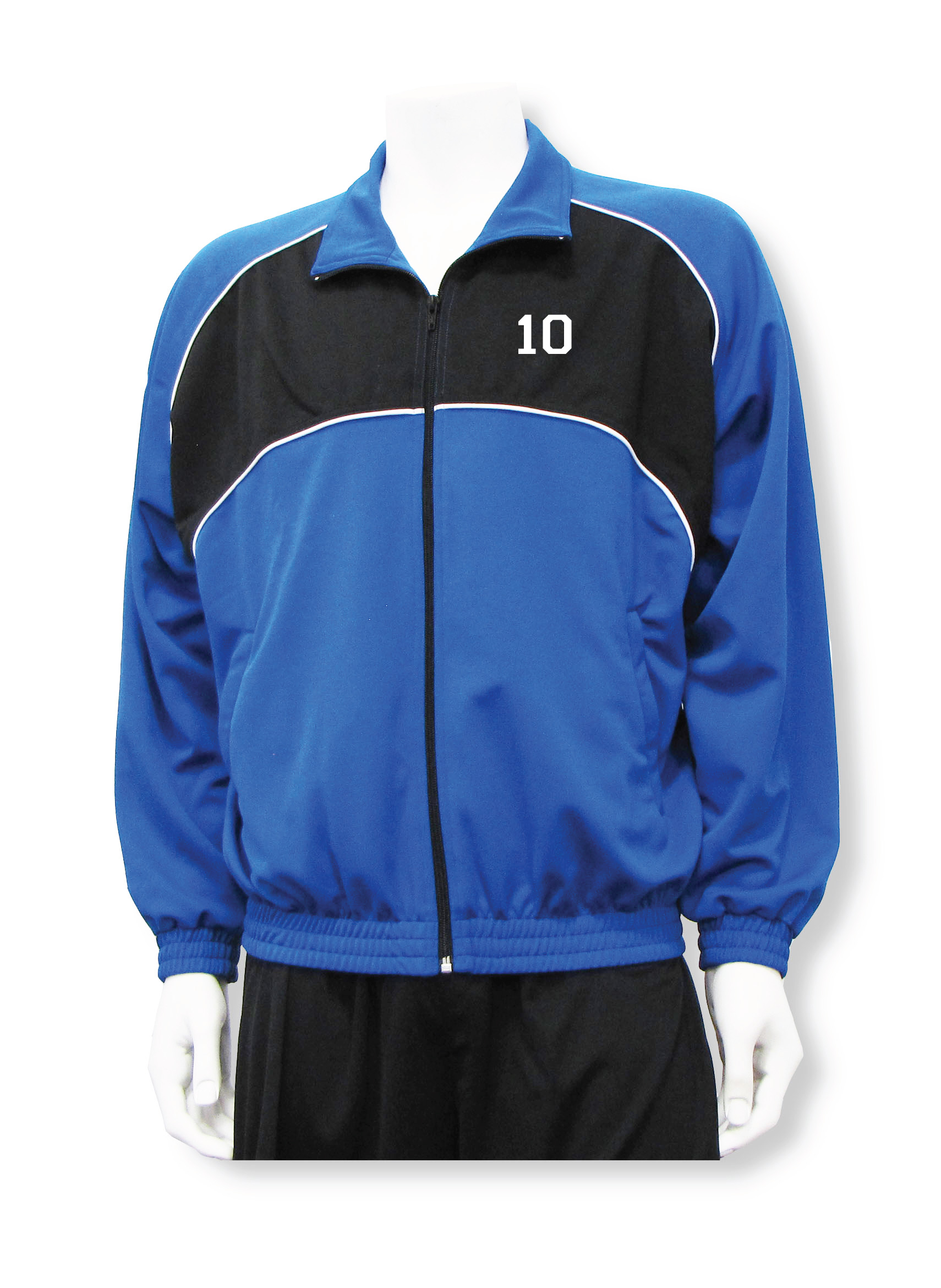 Crossfire soccer warm up jacket with number in royal/black by Code Four Athletics
