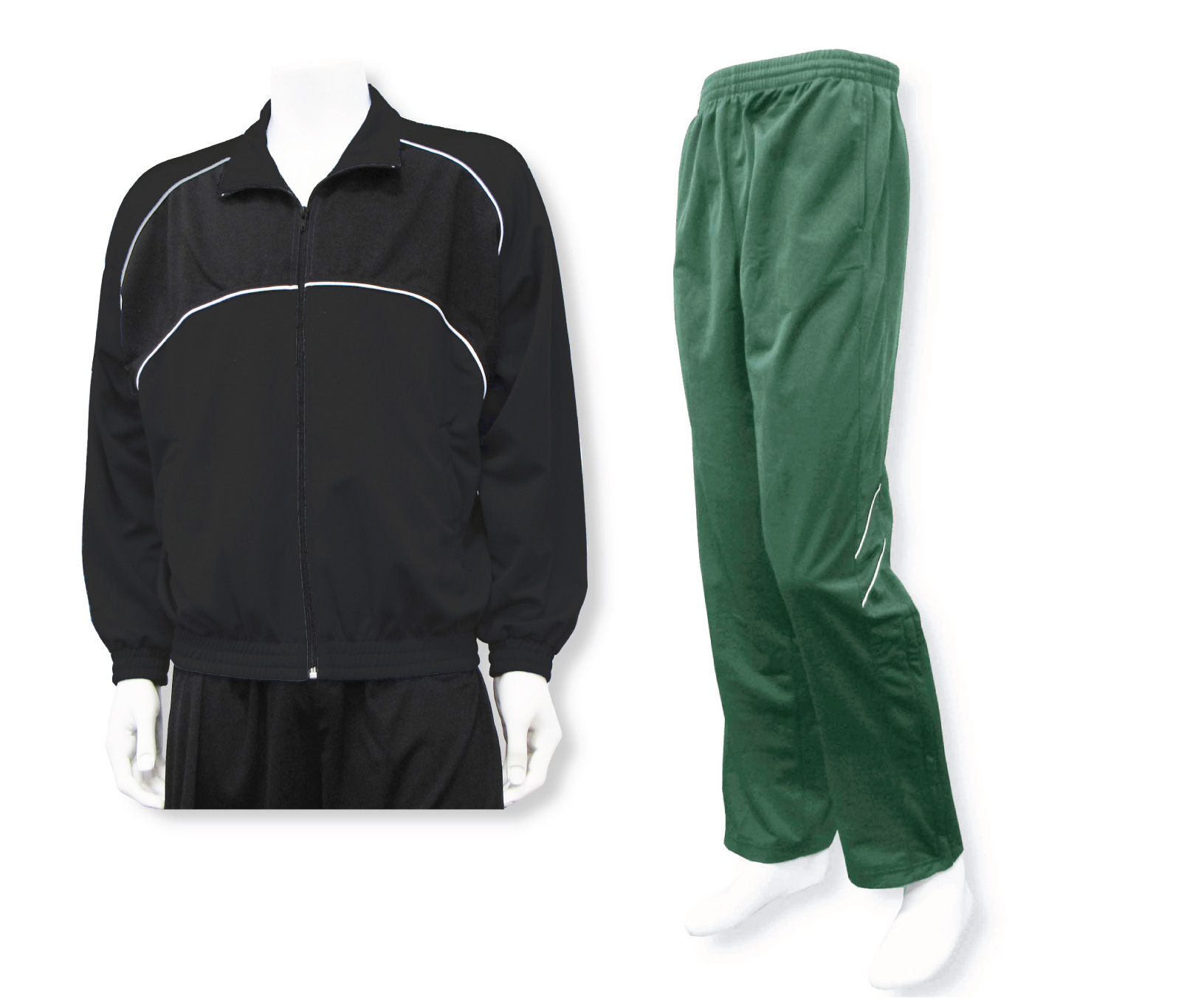 men's casual warmup set with black jacket and forest pants by Code Four Athletics