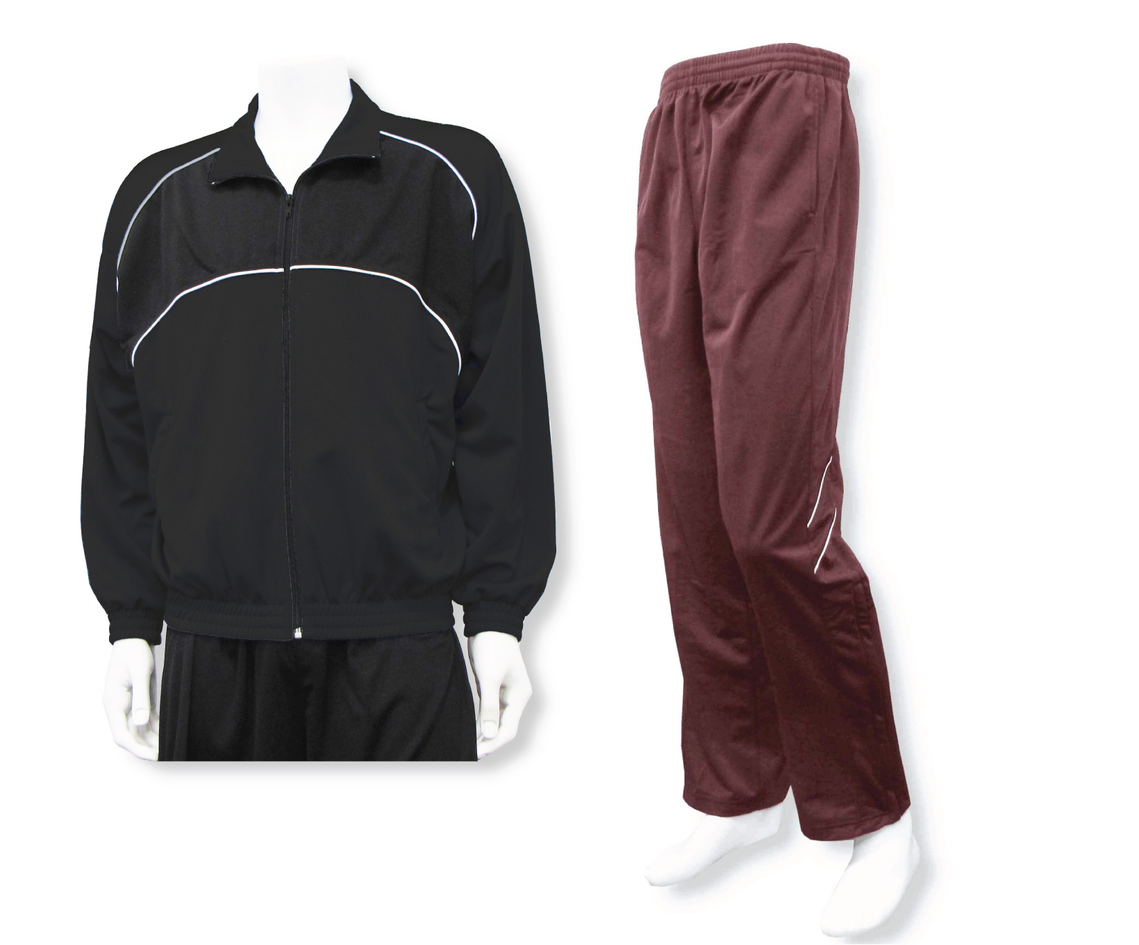 men's casual warmup set with black jacket and maroon pants by Code Four Athletics