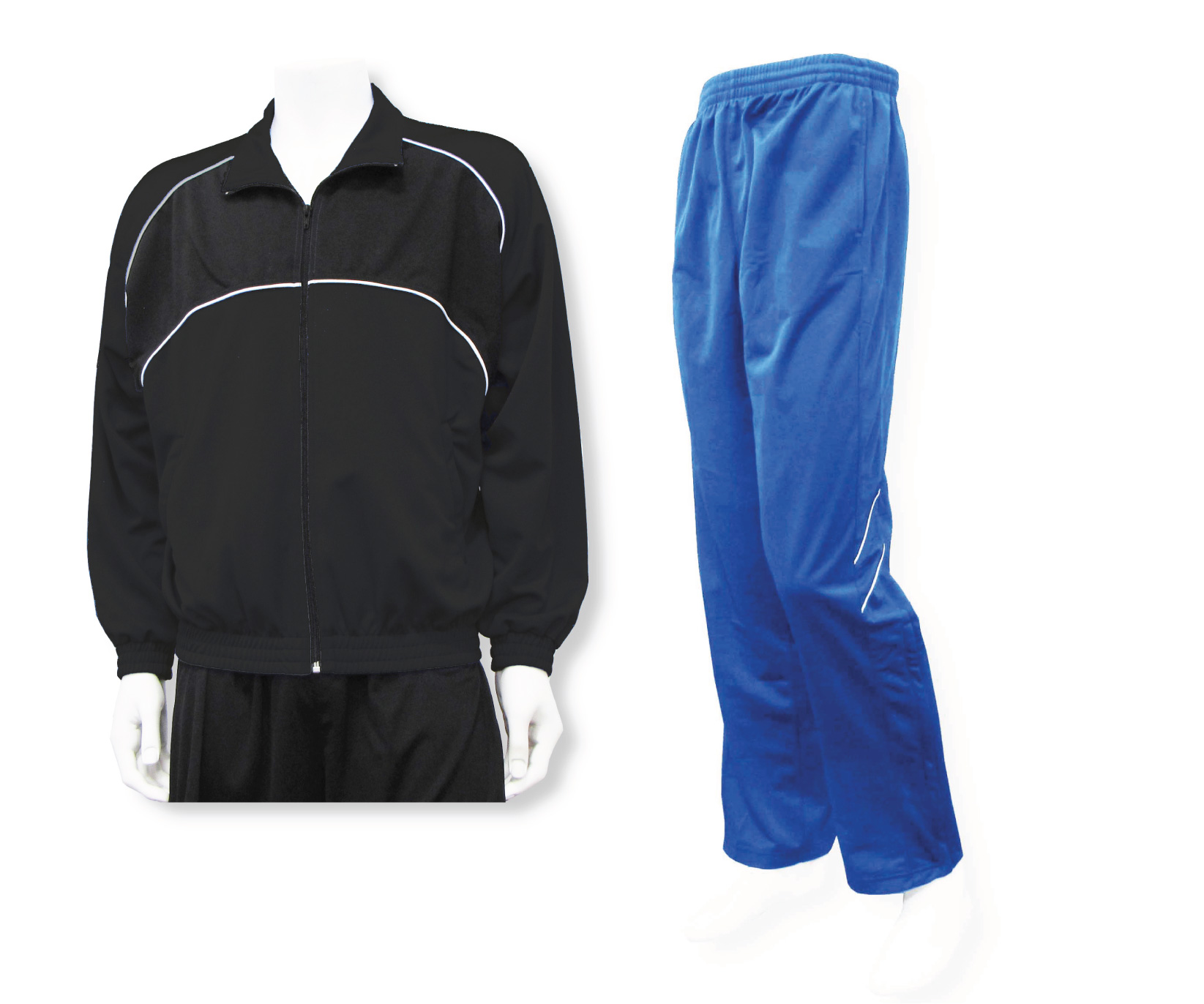 Men's casual warmup set black jacket and royal pants by Code Four Athletics
