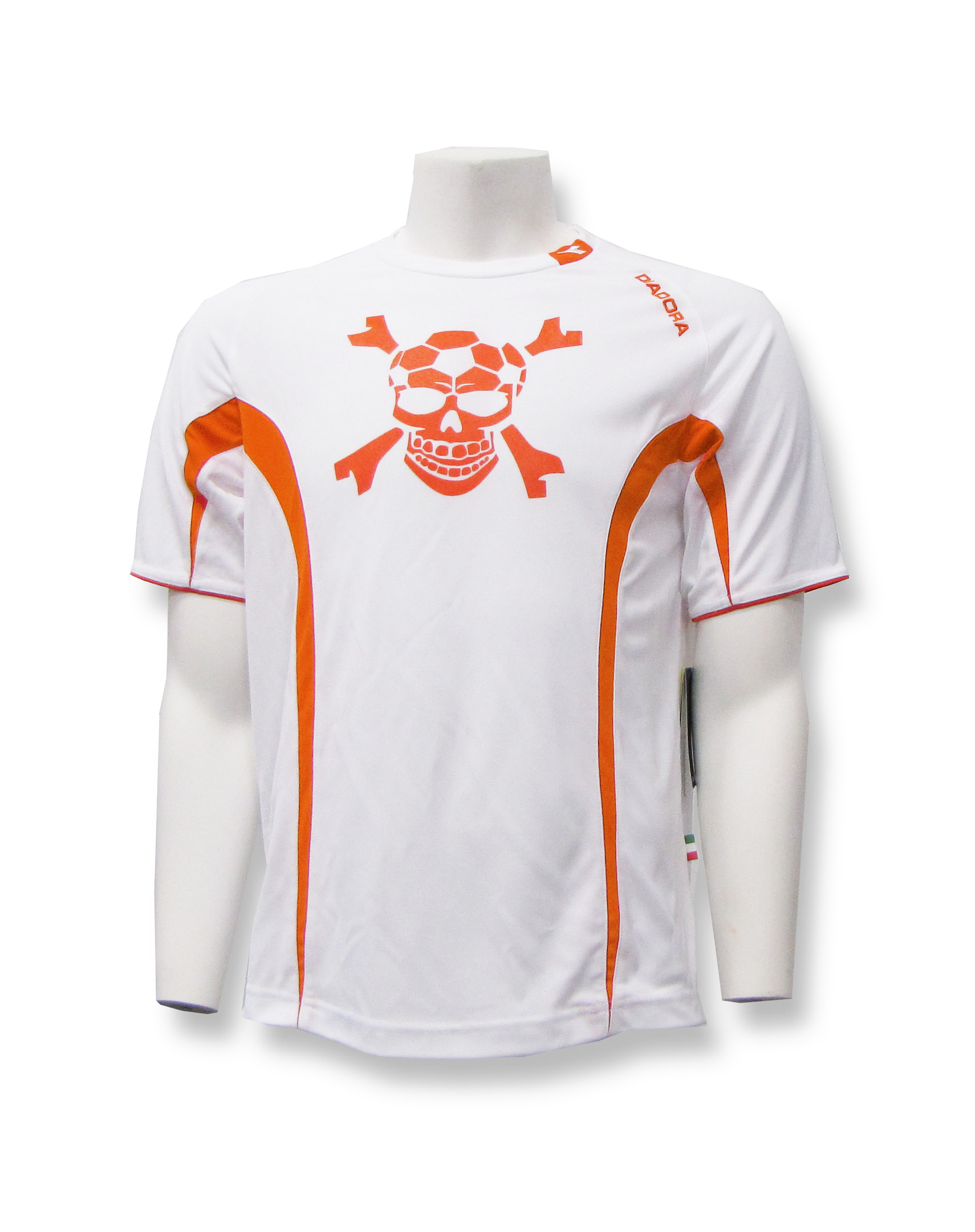 Diadora soccer skull goalie jersey in white/orange offered by Code Four Athletics