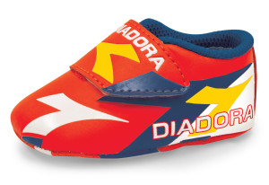 Diadora red baby booter soccer infant shoes by Code Four Athletics