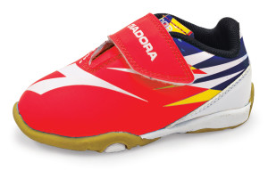 Diadora toddler soccer shoes in red by Code Four Athletics