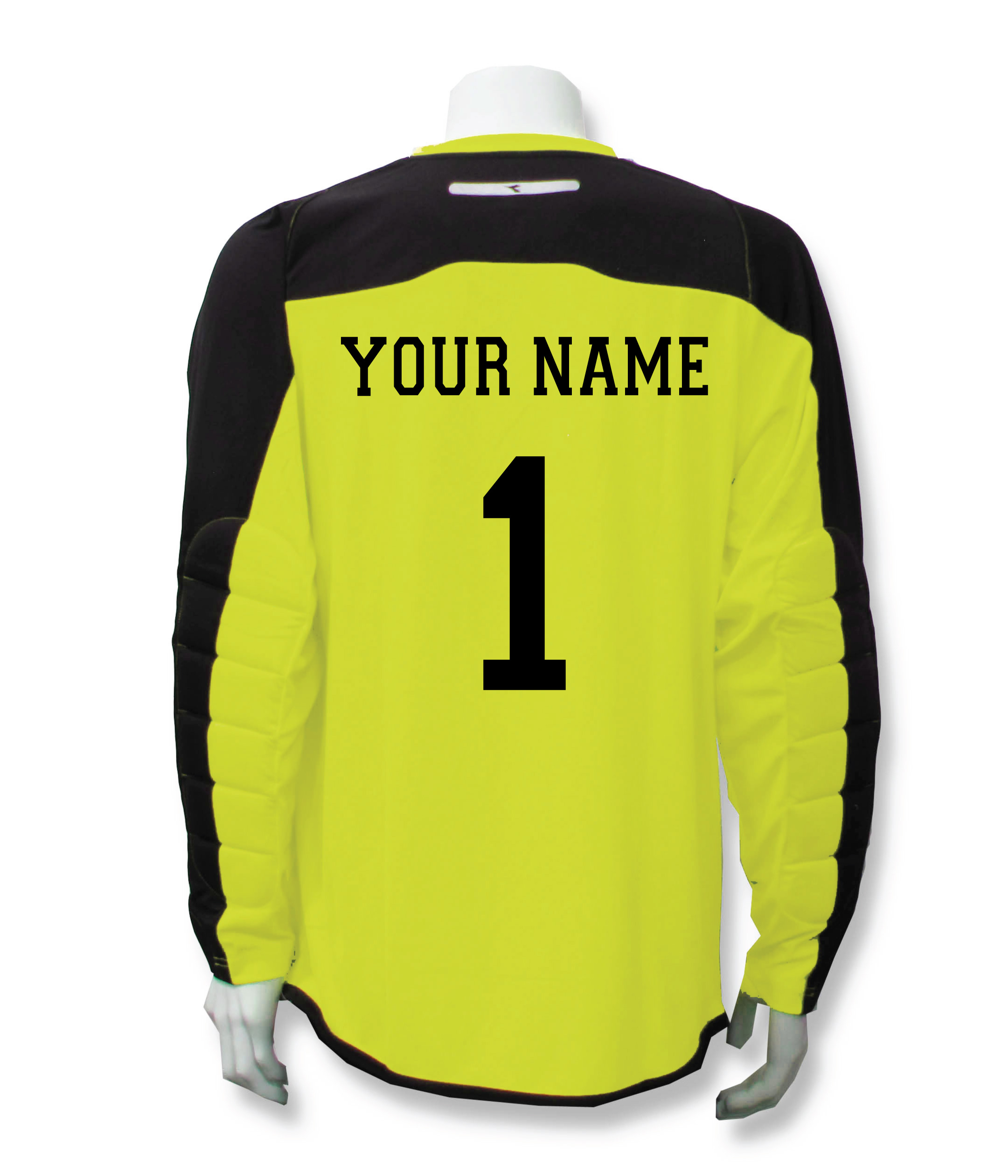 Diadora Enzo keeper jersey in Matchwinner Yellow, with name and number on back, by Code Four Athletics