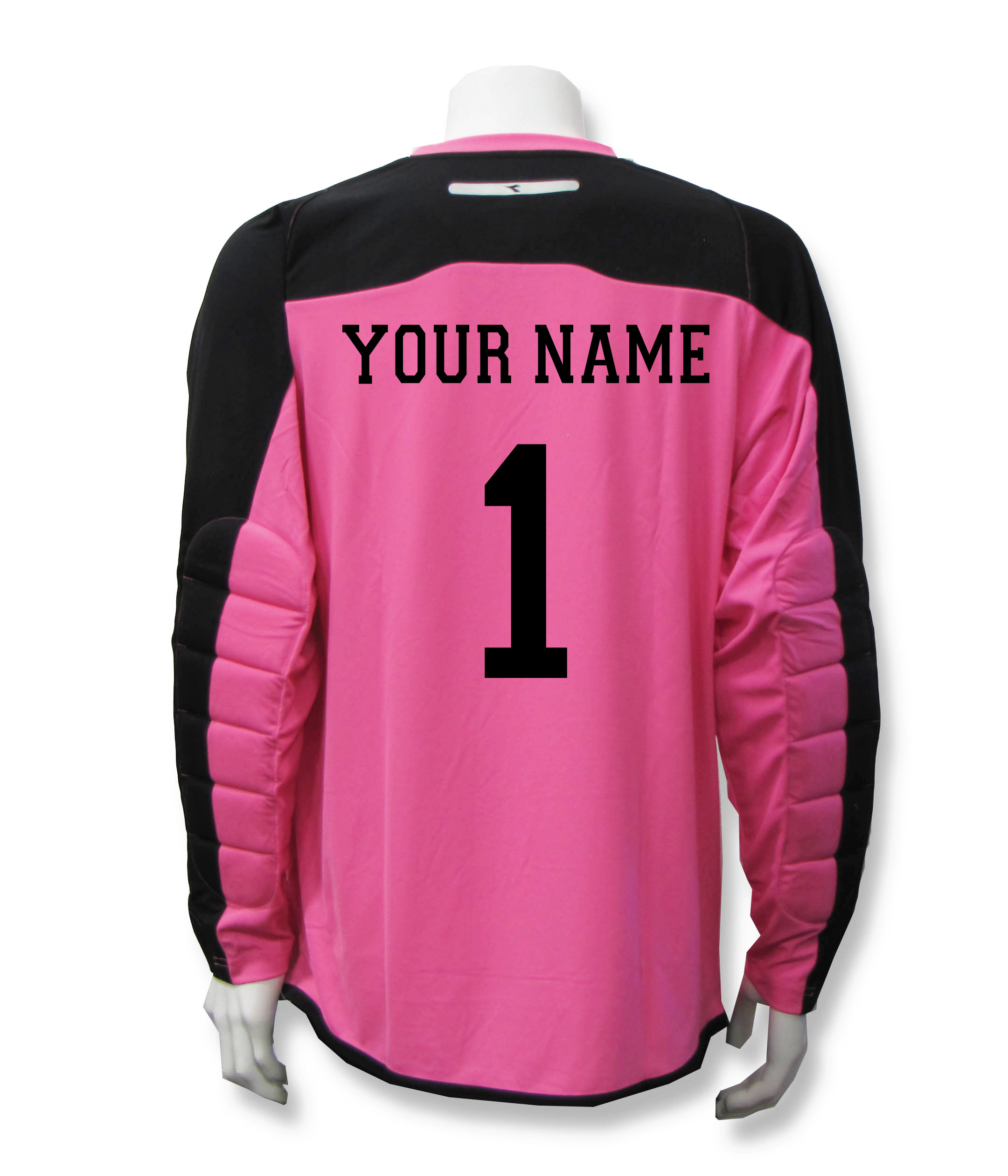 Diadora Enzo goalkeeper jersey with name and number on back, in pink, by Code Four Athletics