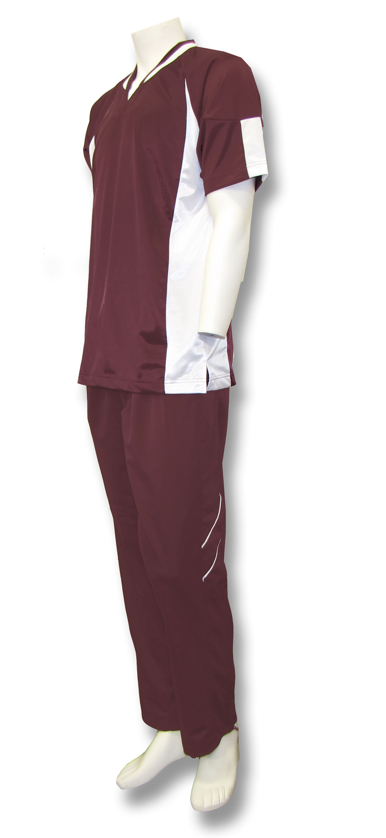 Elite basketball warm ups in maroon/white by Code Four Athletics