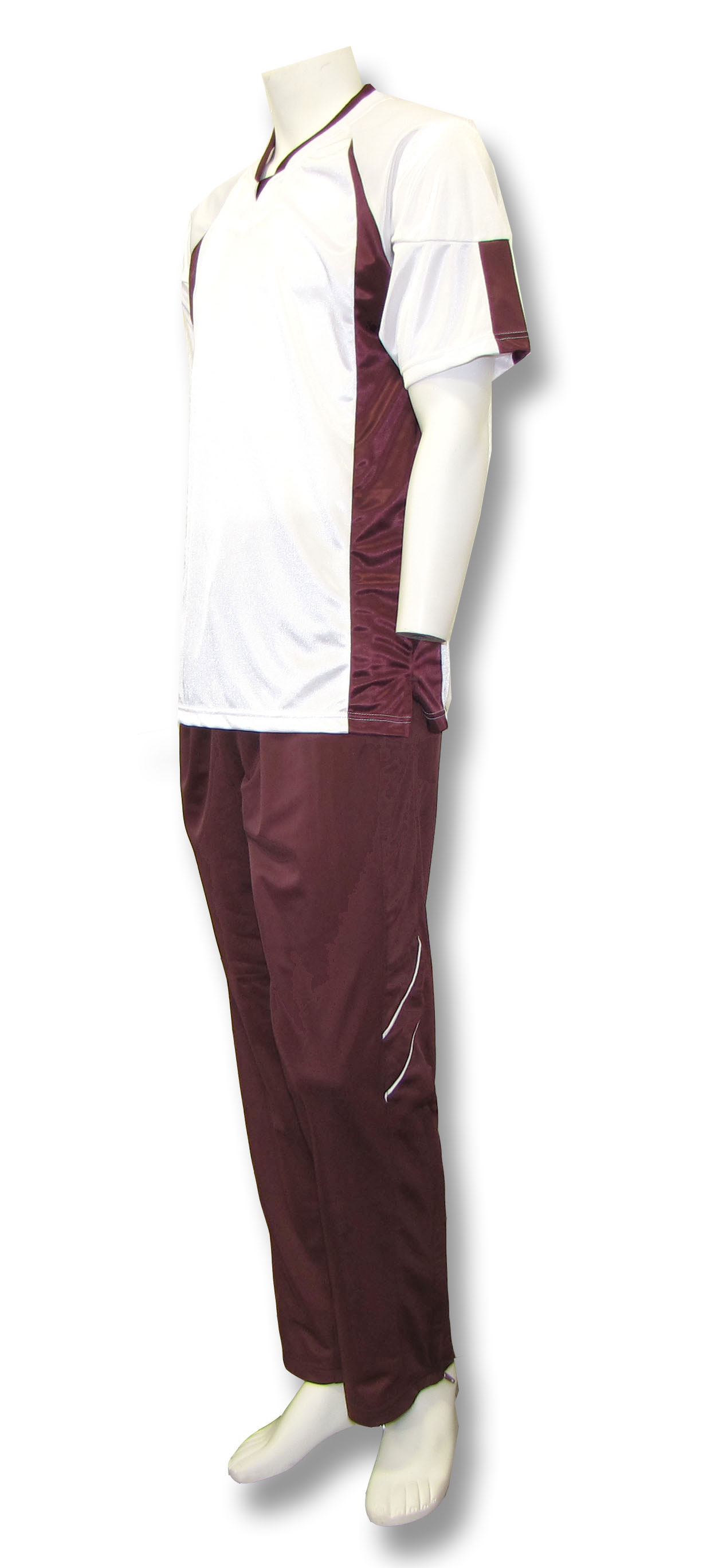 Elite basketball warm ups in white/maroon by Code Four Athletics