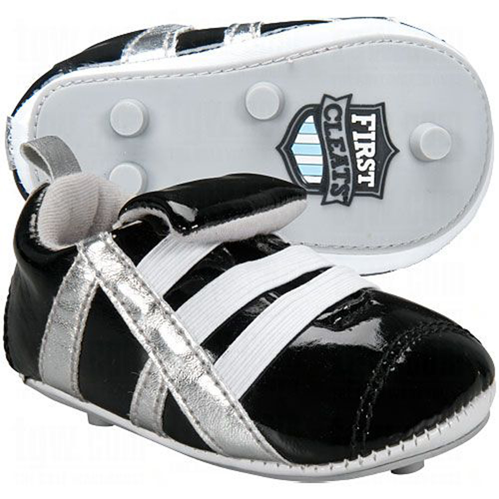 First Cleats newborn baby soccer shoes in black by Code Four Athletics