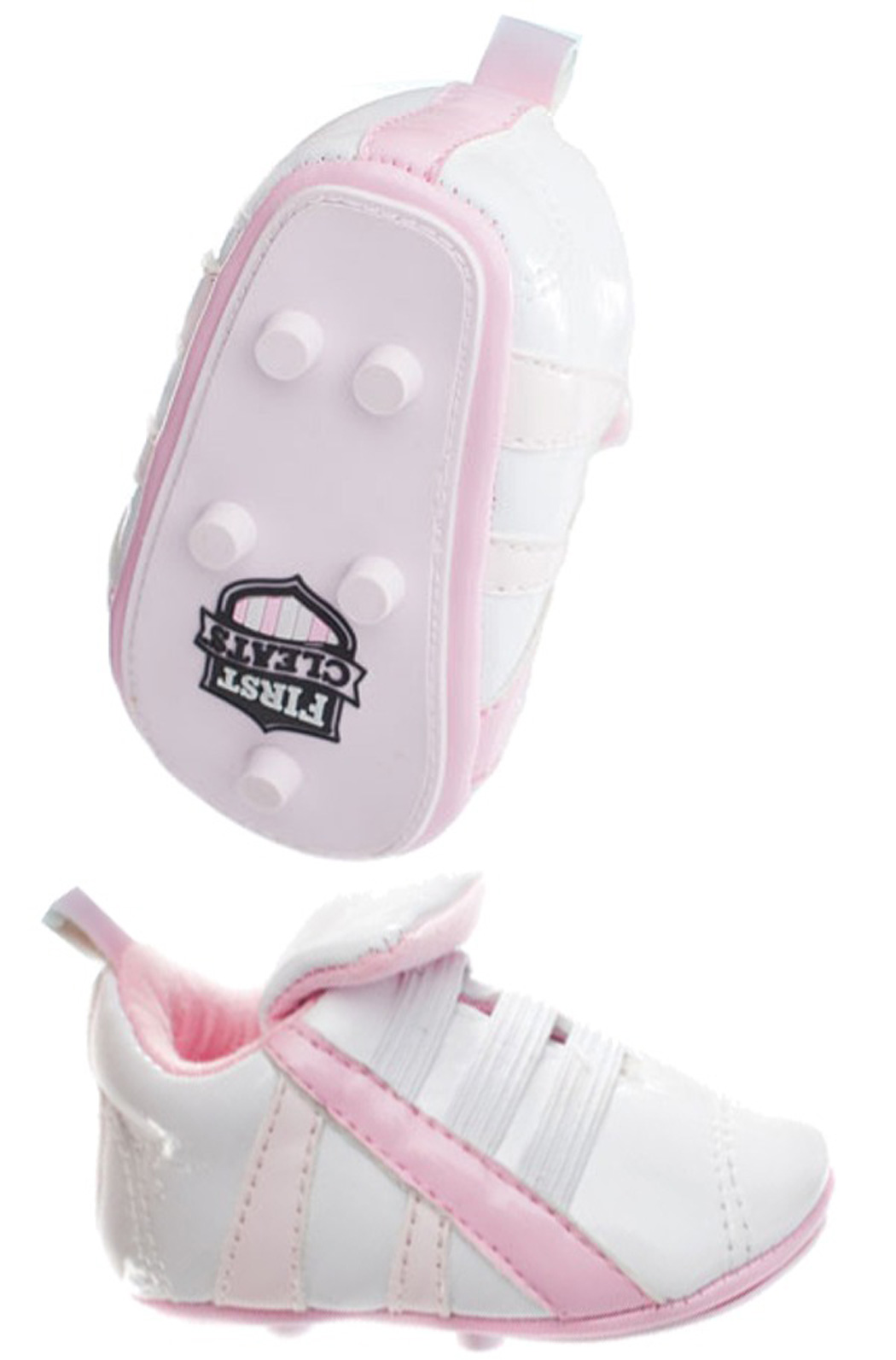 First Cleat newborn baby soccer shoes in pink by Code Four Athletics