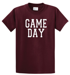 Game Day T shirt in maroon by Code Four Athletics