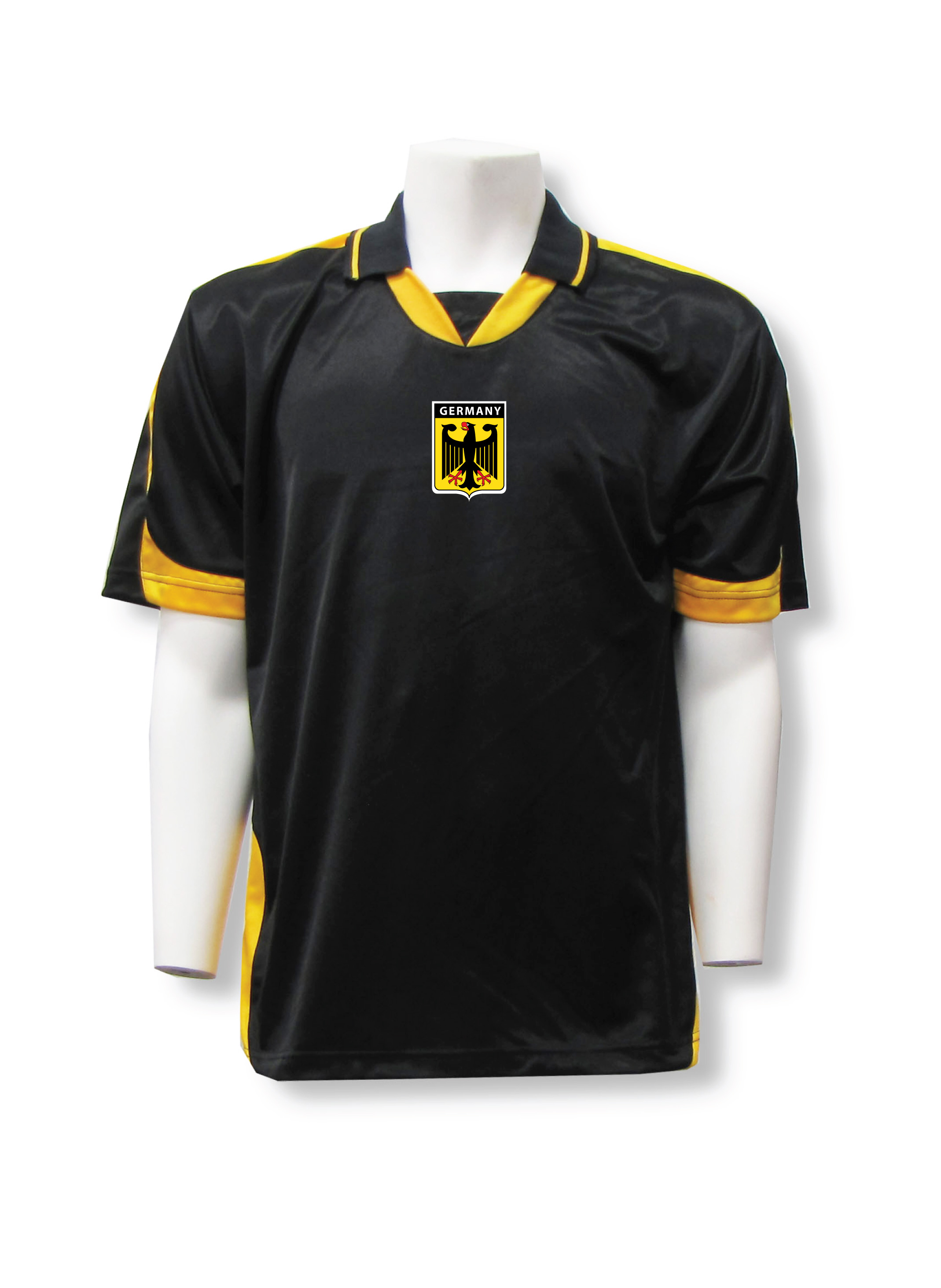 Germany soccer badge jersey in black/gold by Code Four Athletics